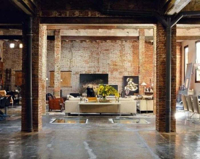 meuble-style-industriel-pas-cher-pour-loft-et-associé-sol-en-bois-clair-et-mur-de-briques