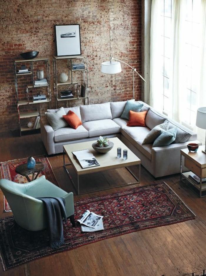 meuble-style-industriel-pas-cher-pour-loft-et-associé-sol-en-parquet-en-bois-mur-de-briques