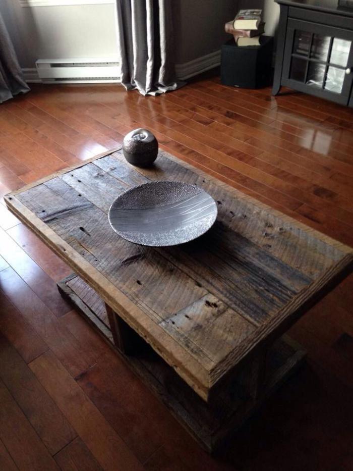 meubles grange, table en bois de grange pour le salon moderne ~ Table De Salon En Bois De Grange