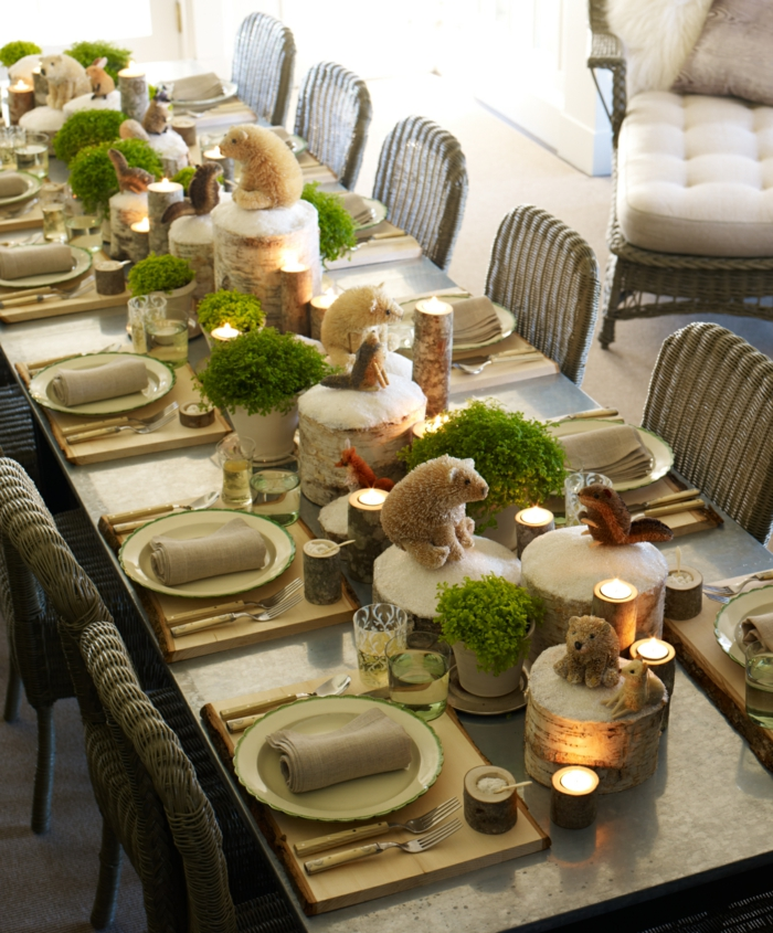 mignon-decoration-de-table-de-noel-décoration-de-table-noel-table-rustique