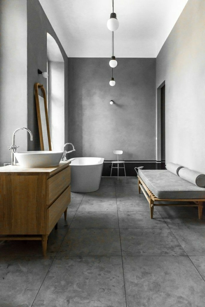 Modele de salle de bain baignoire balneo design bois et granite