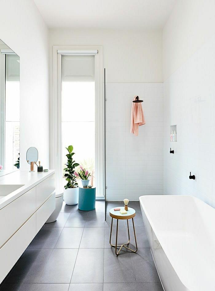 modele-salle-de-bain-avec-baignoire-jolie-en-blanc-design-magnifique-plante-verte