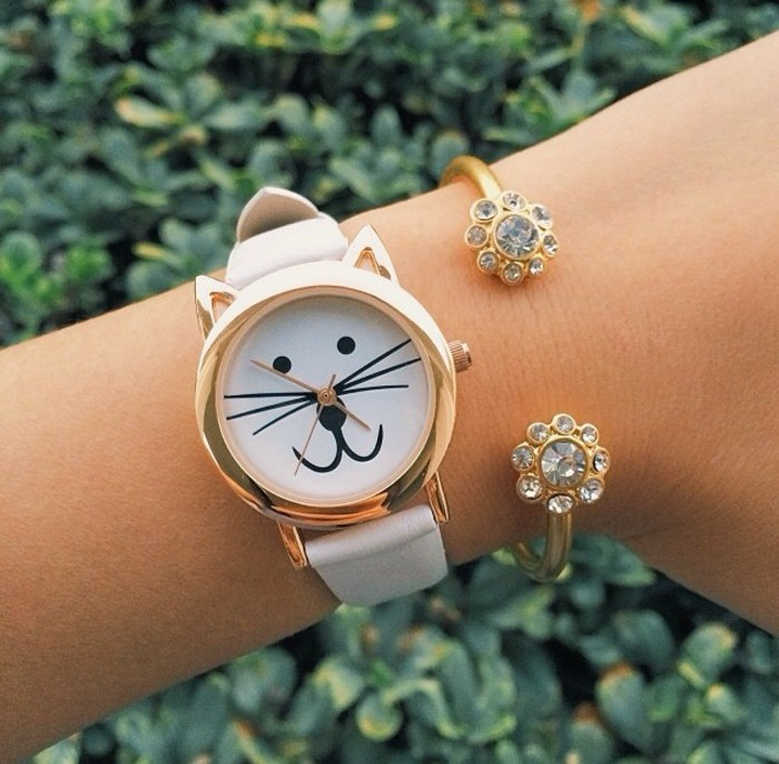 montre-or-rose-homme-cool-stylé-montre-moderne-chat-mignon