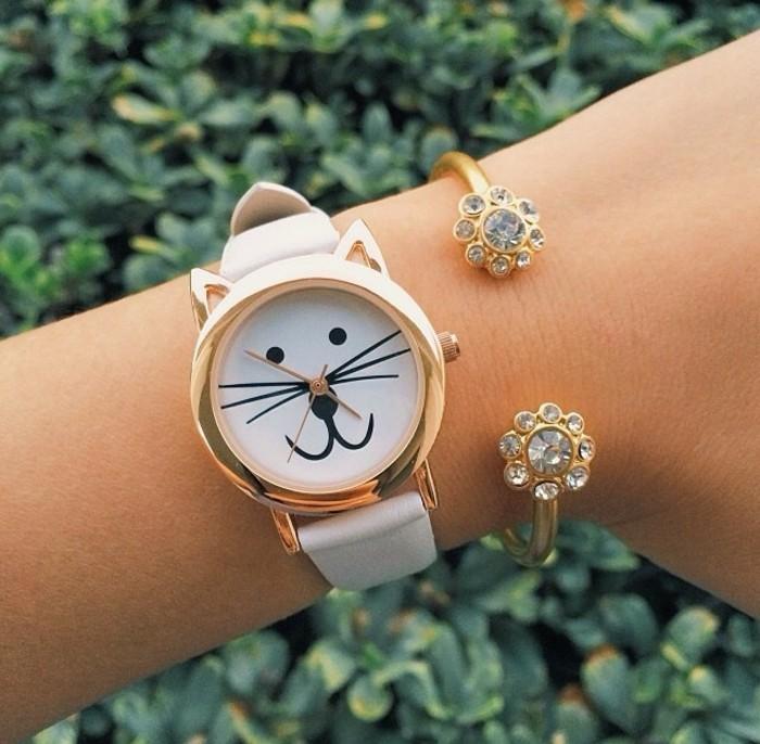 montre-or-rose-homme-cool-stylé-montre-moderne-chat-mignon