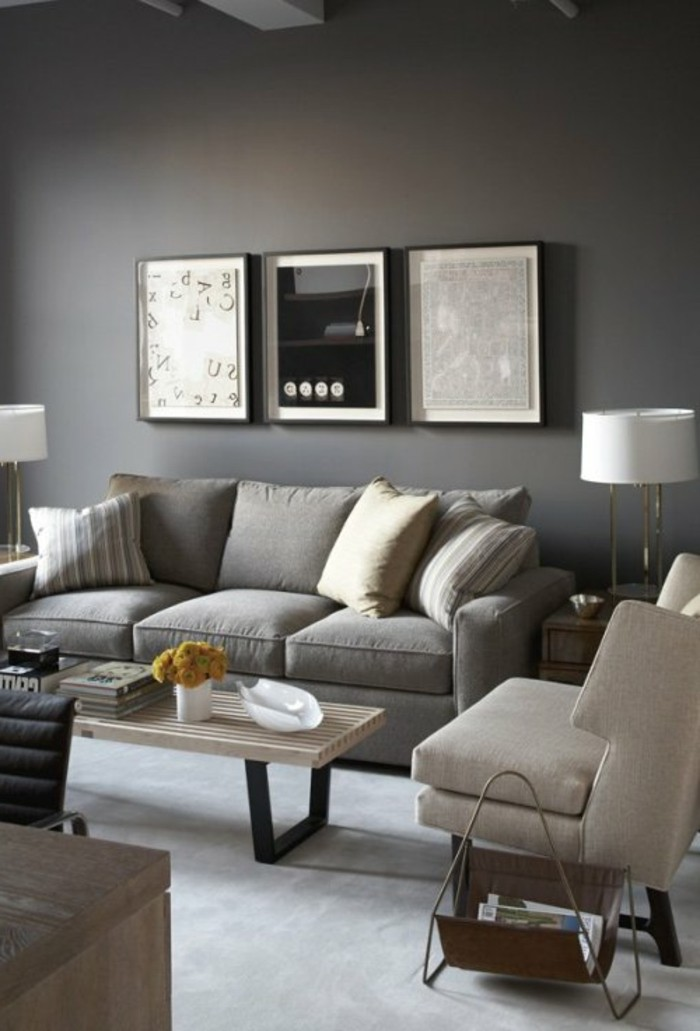 chambre gris taupe excellent chambre gris et taupe peinture noir mat et parement en bois massif. Black Bedroom Furniture Sets. Home Design Ideas