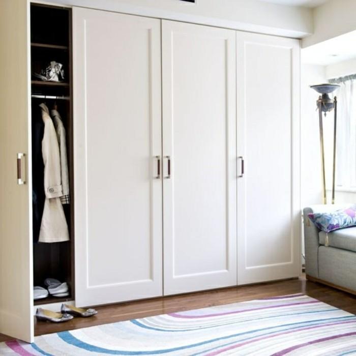 petit-placard-mural-de-couleur-beige-et-portes-de-placard-design-tapis-coloré