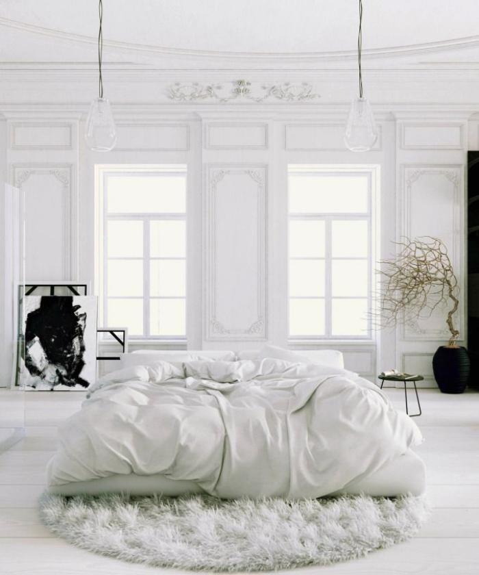 petit-tapis-rond-tapis-rond-shaggy-chambre-à-coucher-blanche