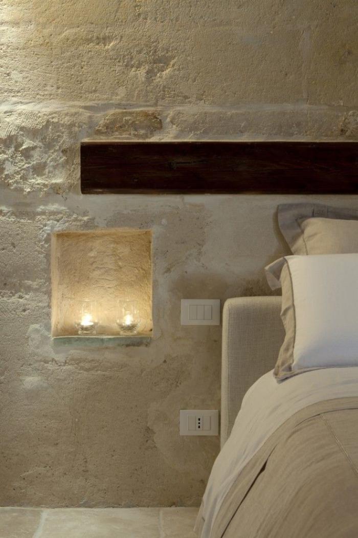 pierre,apparente,chambre,à,coucher,style,chaleureux