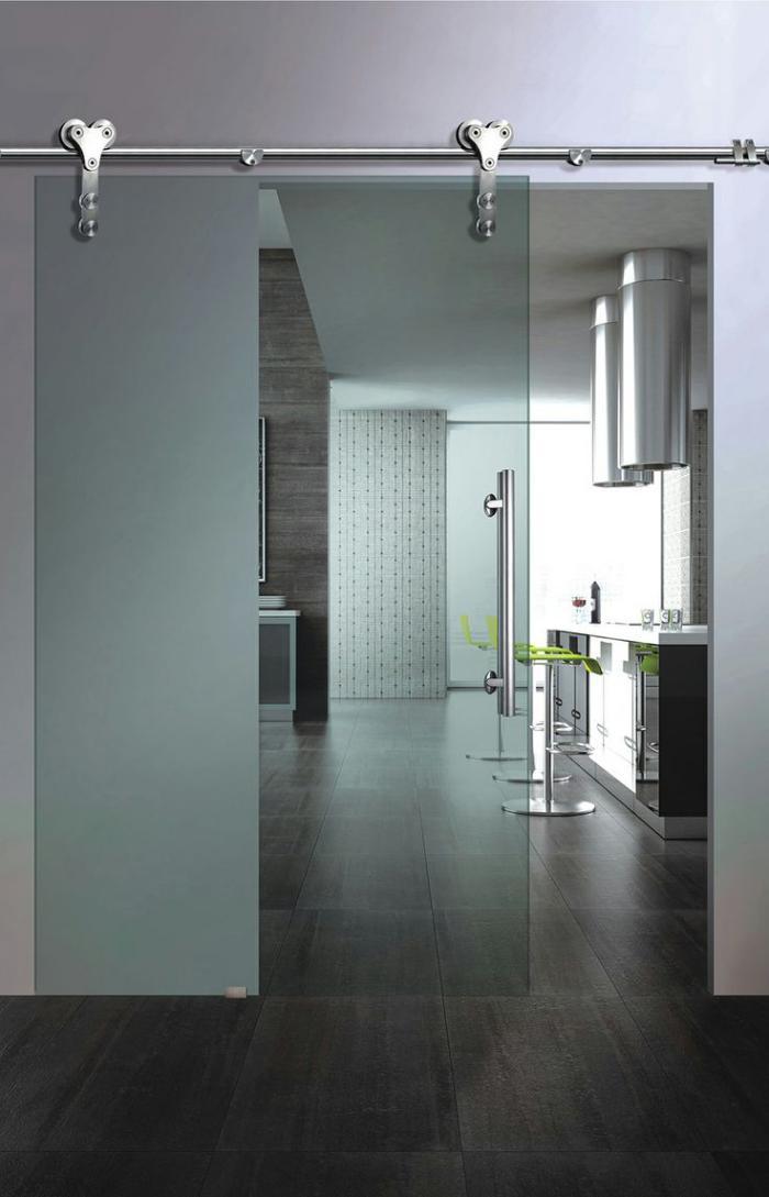 Verriere Interieure Salle De Bain : porte coulissante en verre, porte vitrée d'intérieur, design épuré