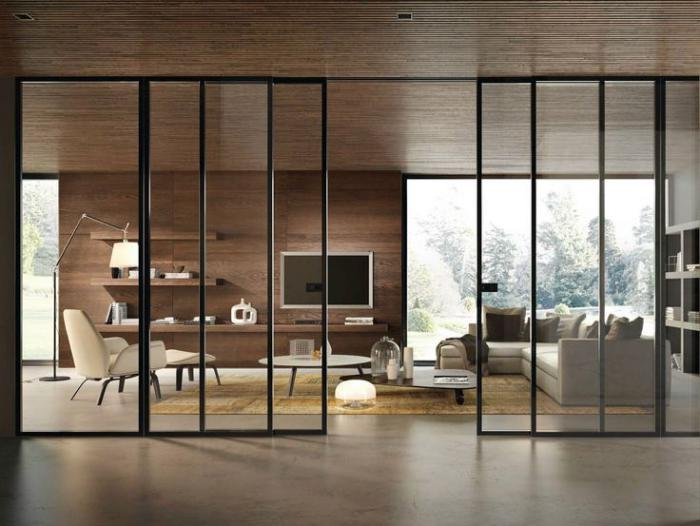 la porte coulissante en verre gain d 39 espace et esth tique moderne. Black Bedroom Furniture Sets. Home Design Ideas