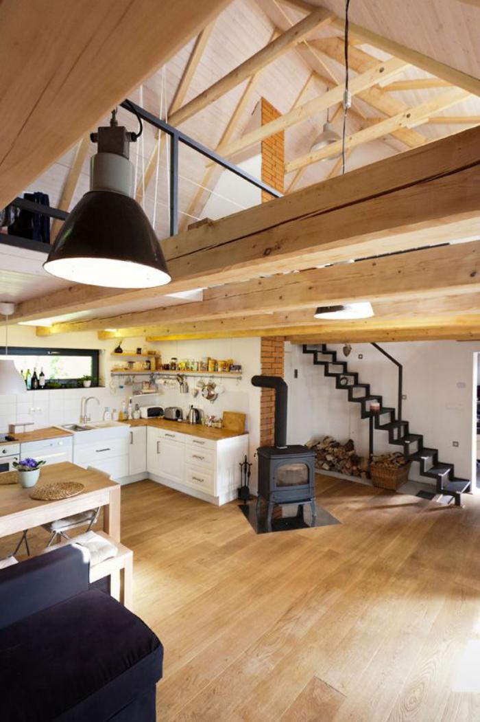 poutre-en-bois-architecture-intérieure-style-loft