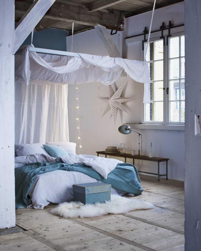 poutre-en-bois-chambre-à-coucher-déco-rustique