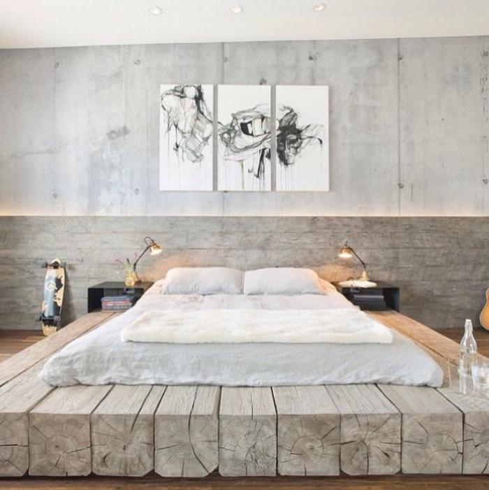 poutre-en-bois-la-déco-avec-poutres-en-bois-chambre-à-coucher