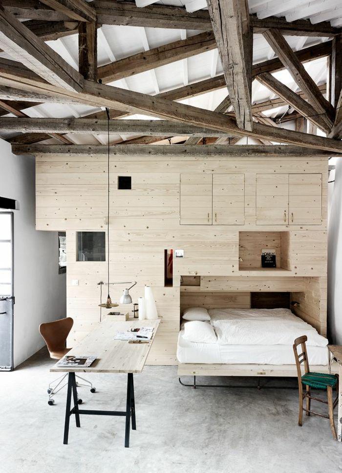 poutre-en-bois-plafond-avec-poutres-vues-et-agencement-élégant-en-bois