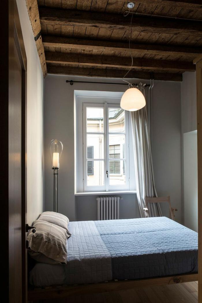 poutre-en-bois-plafond-loft-rustique-chambre-à-coucher