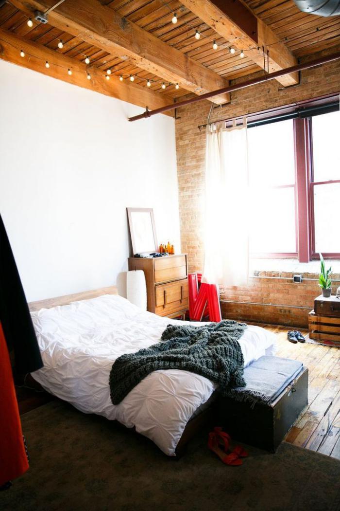 poutres-apparentes-dans-une-chambre-à-coucher-esprit-vintage
