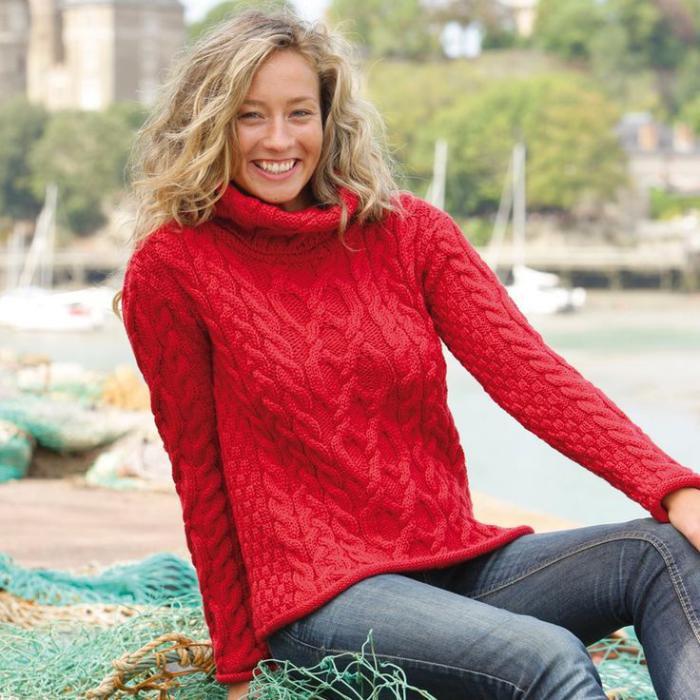 pull-irlandais-pull-d'aran-en-couleur-rouge
