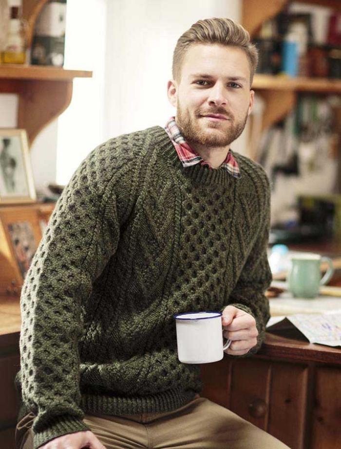 pull-irlandais-tricoté-vert-pull-d'homme