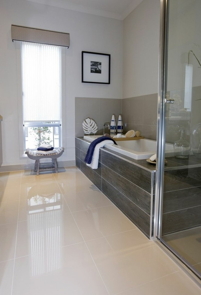 41 photos qui vont vous pr senter le carrelage brillant for Couleur salle de bain carrelage gris