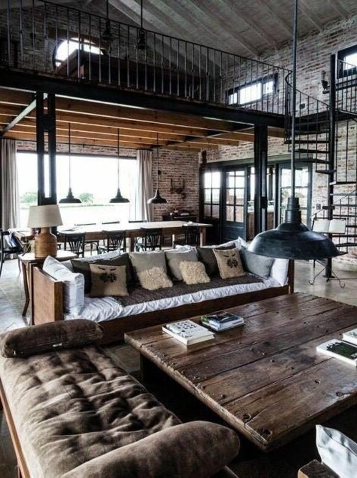 salon-style-industriel-avec-canape-marron-foncé-salon-d-esprit-loft-meubles-marrons-lampe-de-salon