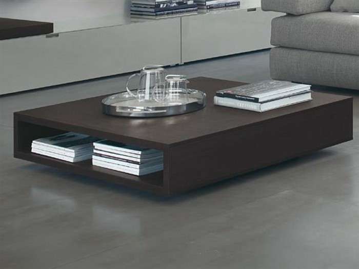 Table basse avec rangement wenge - Table de salon avec rangement ...