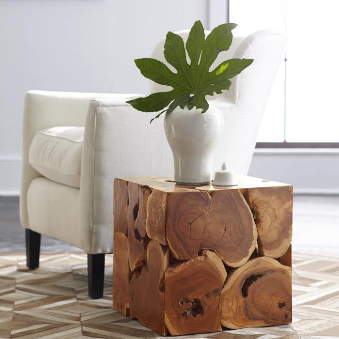 table-en-teck-cube-table-de-salon-originale-racines-de-teck
