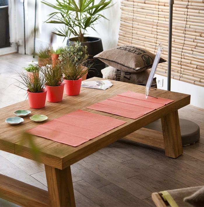 table-en-teck-design-intéressant-pots-de-fleurs