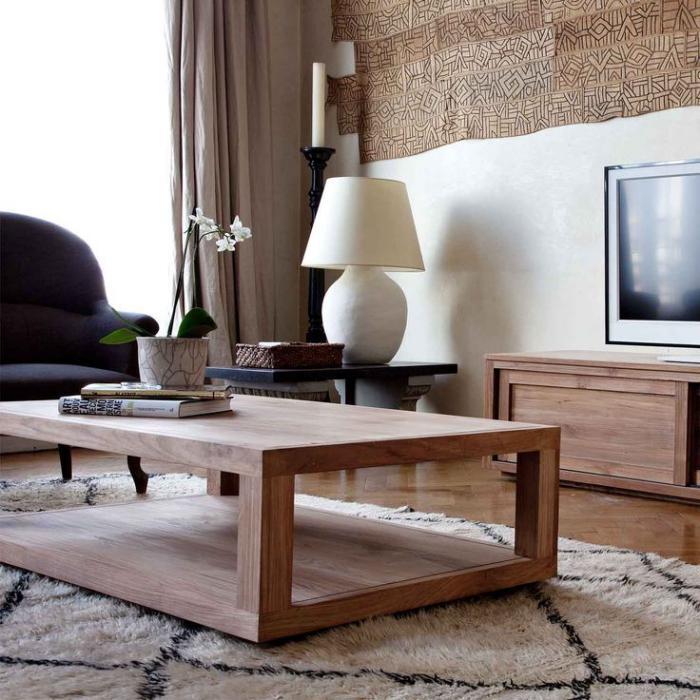 table-en-teck-table-en-bois-rectangulaire-tapis-géométrique