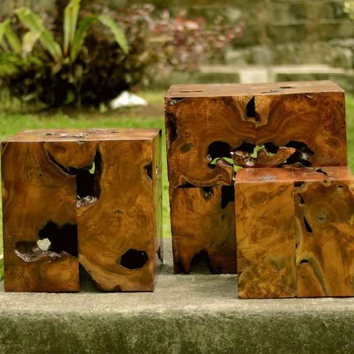 table-en-teck-tables-cubes-en-racines-de-l'arbre-teck