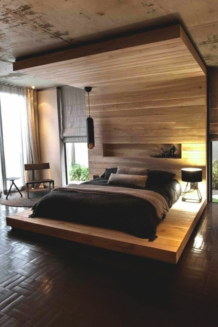 lit en bois moderne pour adulte. Black Bedroom Furniture Sets. Home Design Ideas