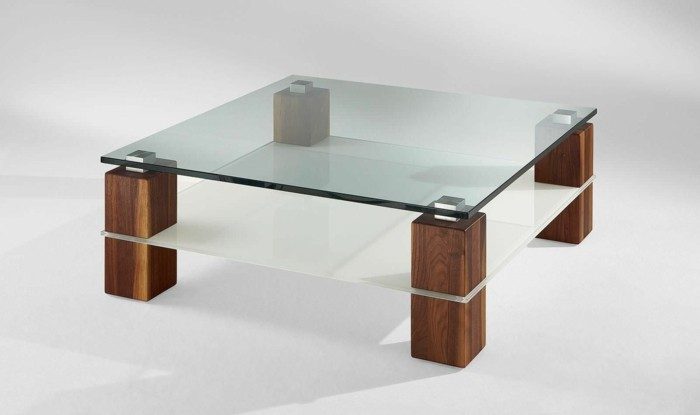 Table basse carree verre design - Table basse bois et verre carree ...