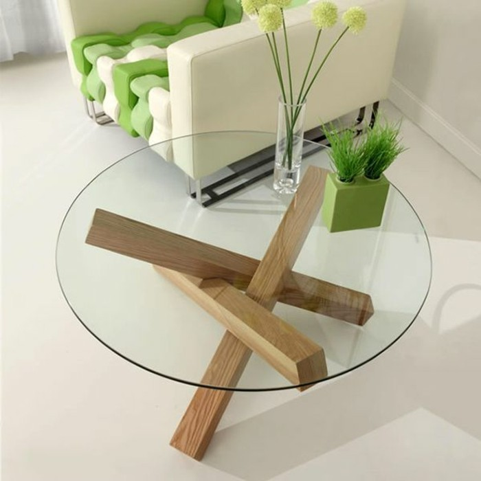 Table Basse Plateau Verre Pied Bois Table De Salon Design En Bois