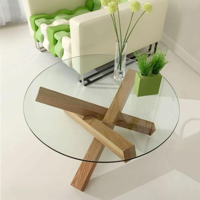 La table basse bois et verre en 43 photos d 39 int rieur - Table ronde verre bois ...