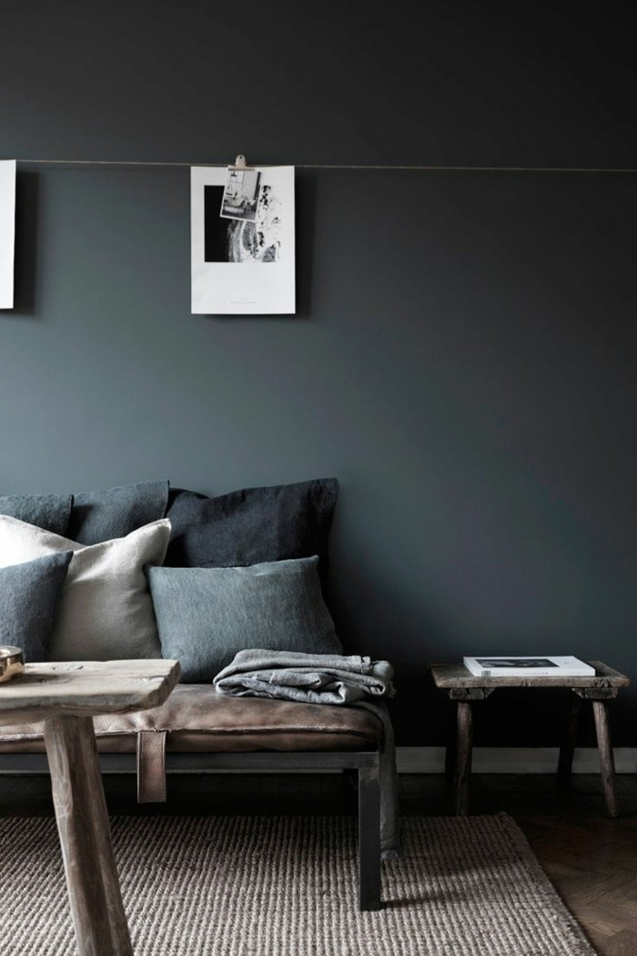 Le gris anthracite en 45 photos d 39 int rieur for Peindre un mur de couleur dans un salon