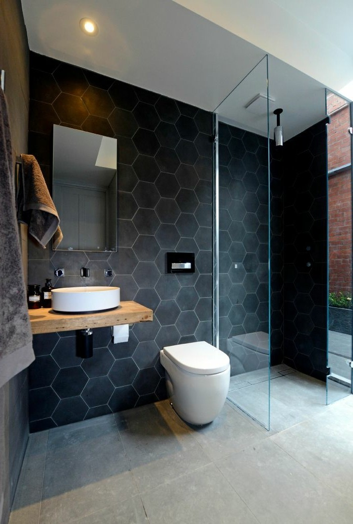 La beaut de la salle de bain noire en 44 images - Salle de bain faience noire ...