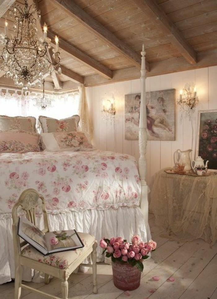 La parure de lit romantique en milles photos for Jolie chambre a coucher