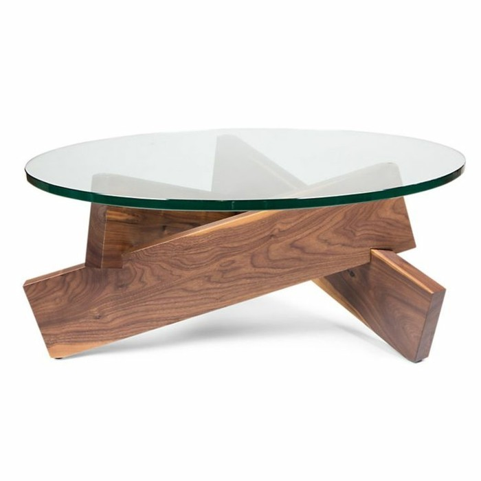 Table basse bois vieilli et verre for Table basse verre design