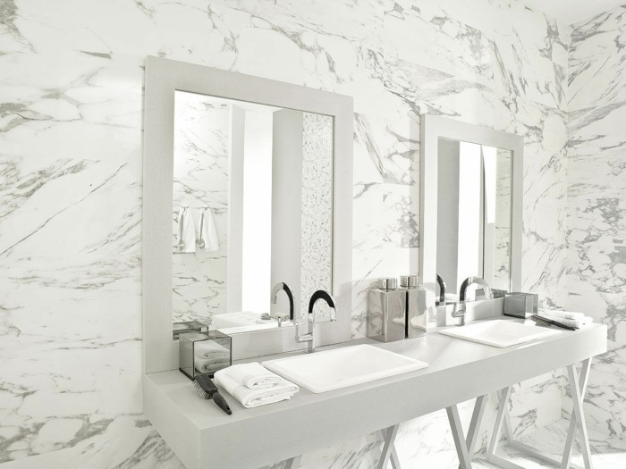 Le carrelage en marbre en 42 photos - Carrelage imitation marbre blanc ...
