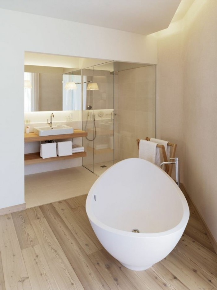 Mille id es d am nagement salle de bain en photos for Parquet salle bain