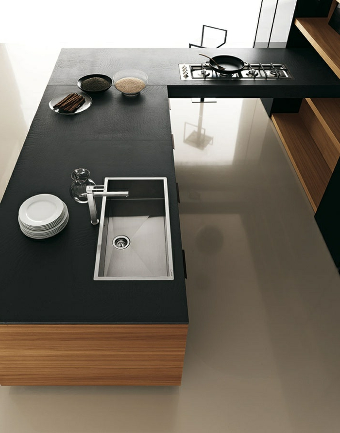 Cuisine quipe bordeaux bordeaux cuisine amnage appartement cuisine avec lot central moderne au for Plan de travail pas cher leroy merlin