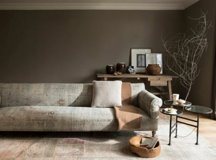 Comment incorporer la couleur gr ge id es en photos - Salon mur taupe ...