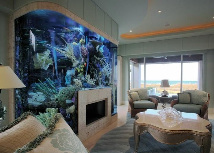 L aquarium mural en 41 images inspirantes for Meuble bas salon pas cher