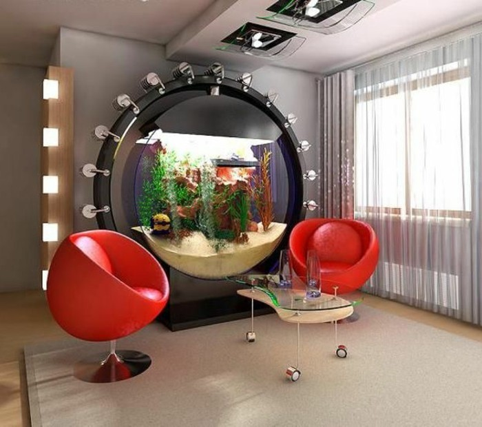 l aquarium mural en 41 images inspirantes. Black Bedroom Furniture Sets. Home Design Ideas