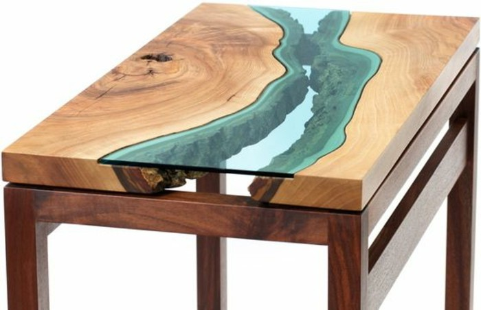 La table basse bois et verre en 43 photos d 39 int rieur - Table moderne en bois ...