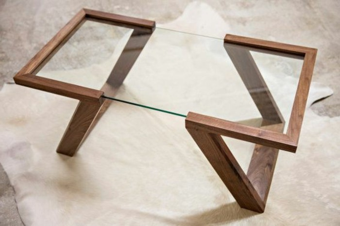 La table basse bois et verre en 43 photos d 39 int rieur - Table basse contemporaine bois ...