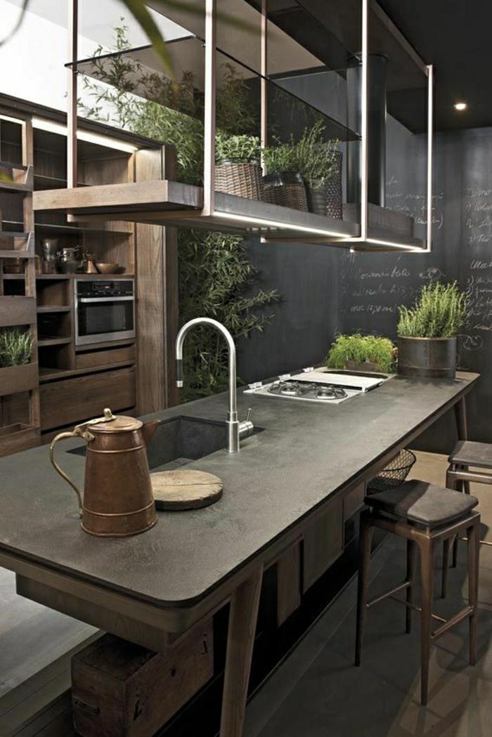 2-évier-castorama-ou-un-évier-franke-meubles-de-cuisine-noirs-cuisine-retro-chic-avec-plantes-d-interieur