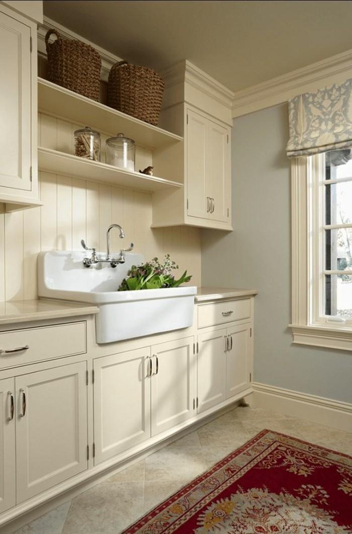 Placard mural salle de bain - Faience cuisine beige ...