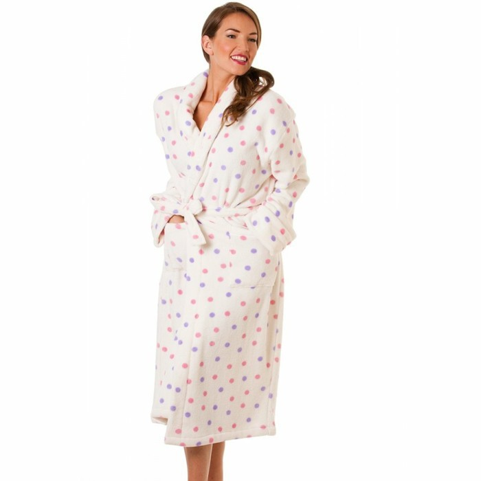 Blanche porte robe de chambre femme polaire