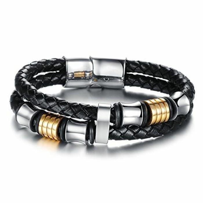 Bracelet-homme-cuir-luxe-argent-gourmette-resized