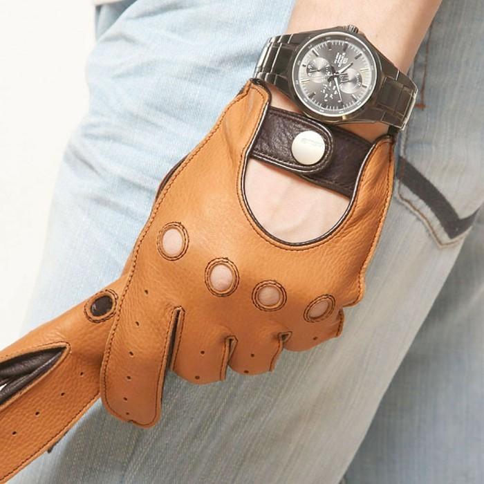 Gants-en-cuir-femme-homme-luxe-conduite-moto-mitaines-brun2-gants-pecari